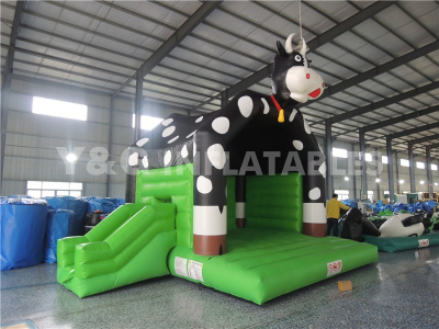 Black Cow Bounce House With Slide Combo For Sale
