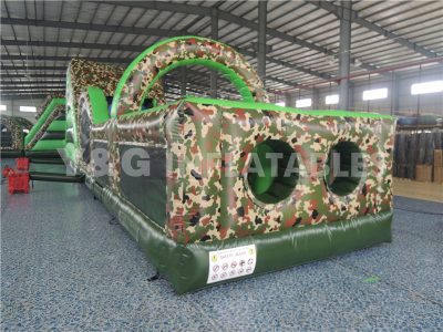 Camouflage Color Obstacle Course Jump House