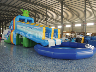 Inflatable Frog Water Slide With Pool   YS-29