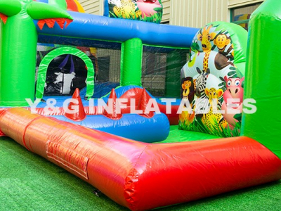 Zoo Bounce House With Slide And Pool