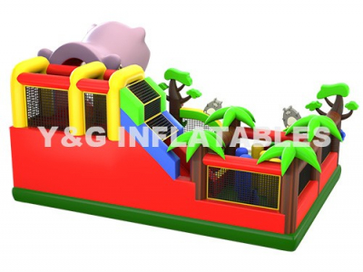 Funny Hippo jumping castle with slide