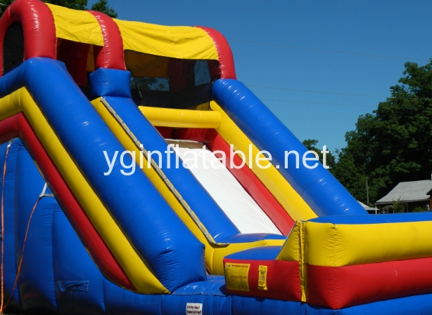 Do not set up inflatable slides when windy